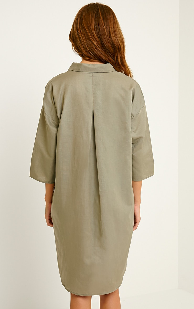Franca Khaki Oversized Shirt Dress 2