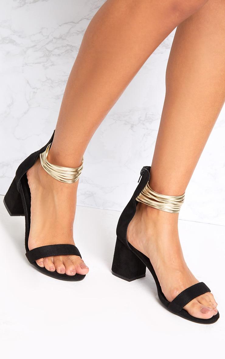 Naida Black Fine Strappy Block Heeled Sandals 1