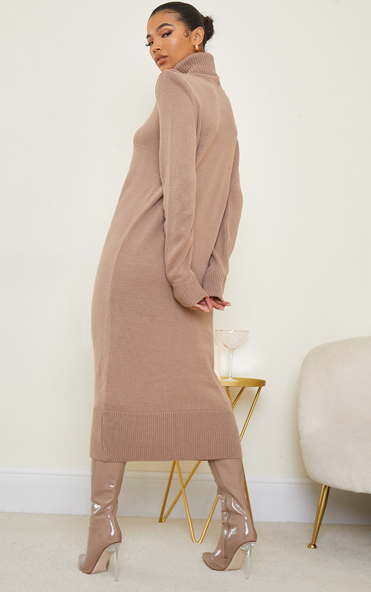 Camel Roll Neck Shoulder Pad Knitted Midi Sweater Dress 2