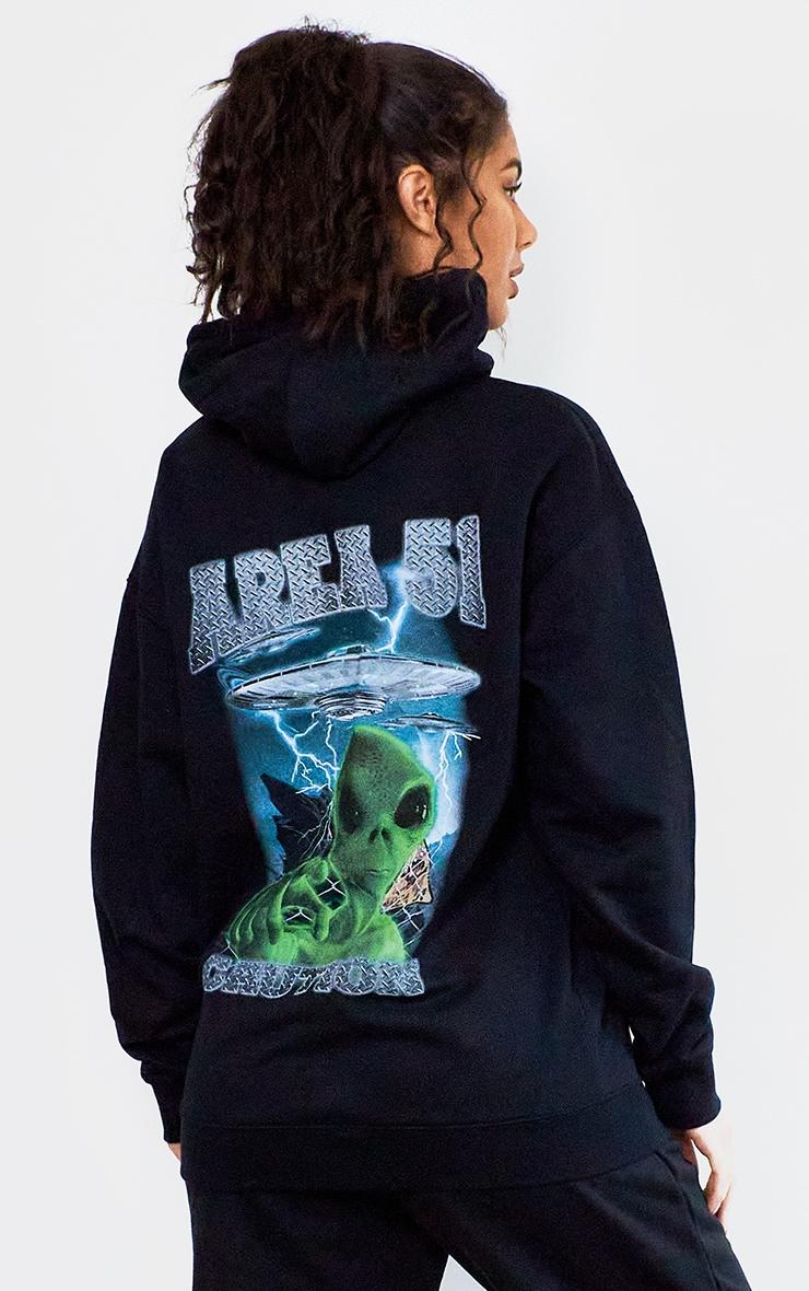 Black Area 51 Print Hoodie 1