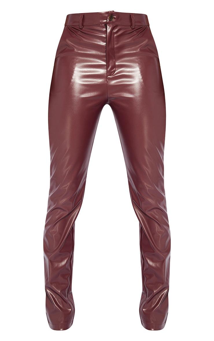 Tall Burgundy PU Pants 5
