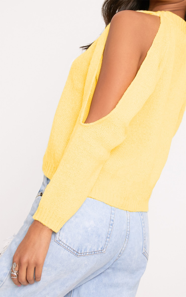 Aingeal Yellow Cropped Cold Shoulder Knitted Jumper 5