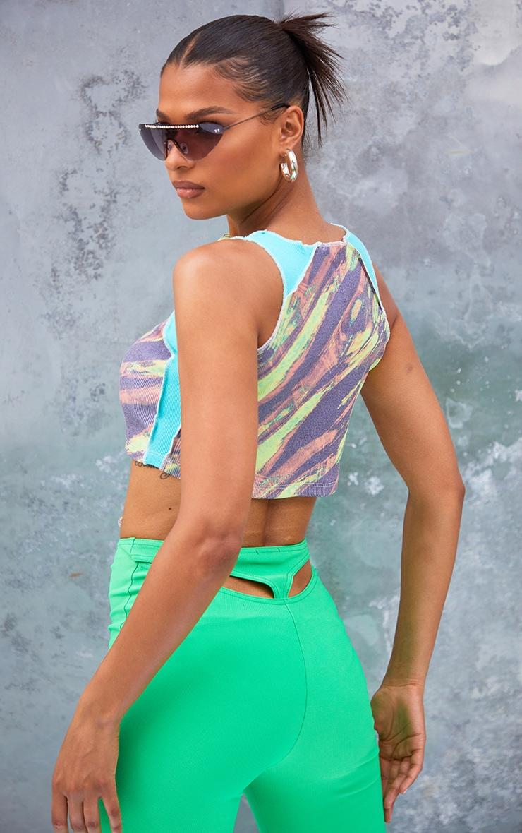 Aqua Rib Contrast Panel Printed Lace Up Crop Top 2