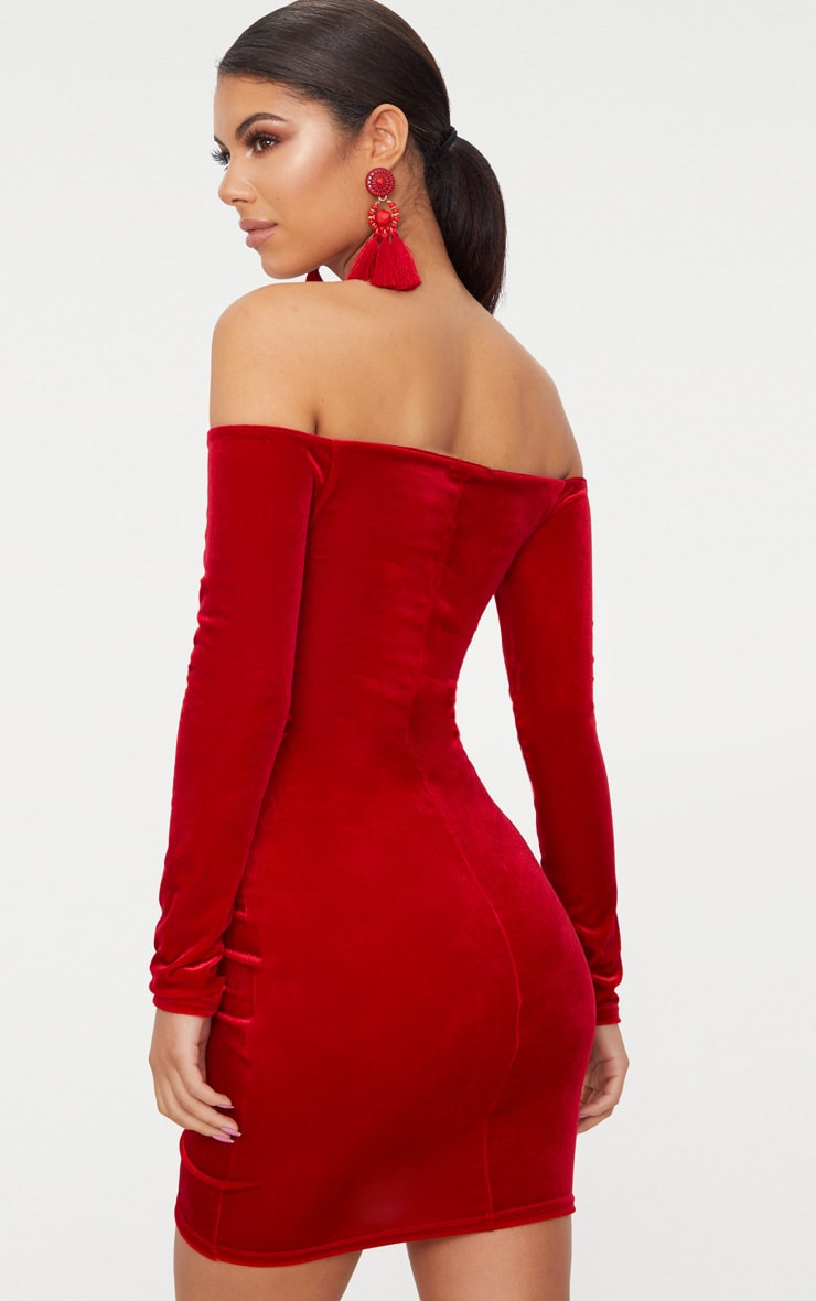 Red Velvet Bardot Long Sleeve Ruched Bodycon Dress 2