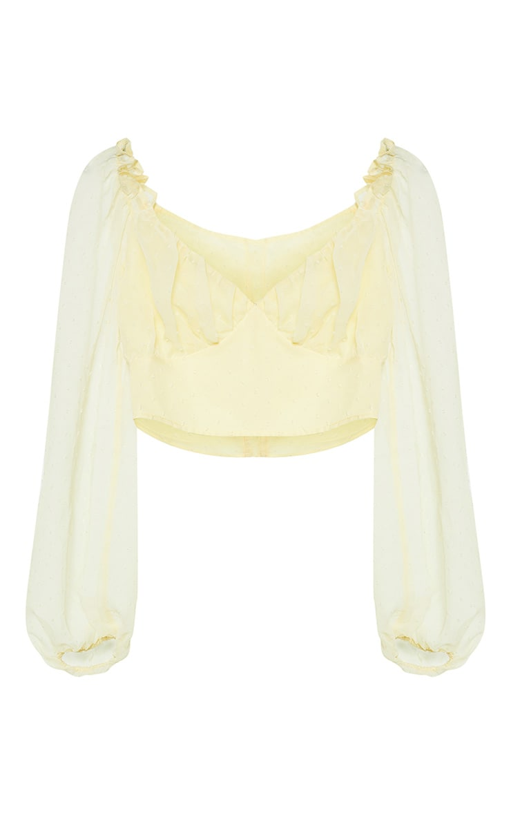 Petite Lemon Yellow Dobby Mesh Chiffon Sweetheart Blouse  3