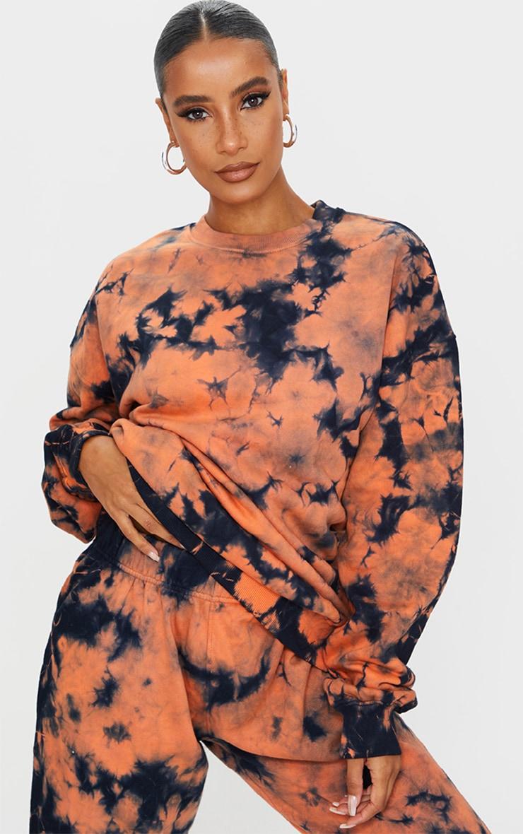 Rust Multi Tie Dye Oversized Sweater 1