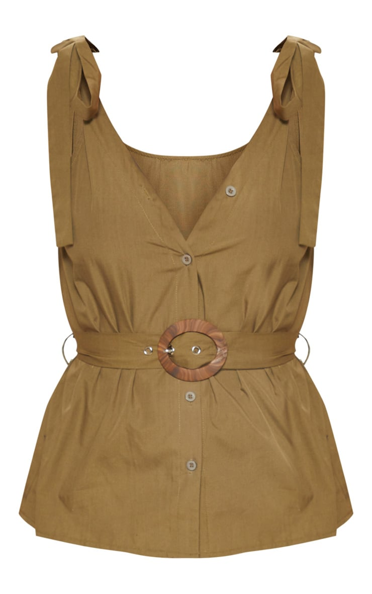 Khaki Sleeveless Belted Button Front Top 3