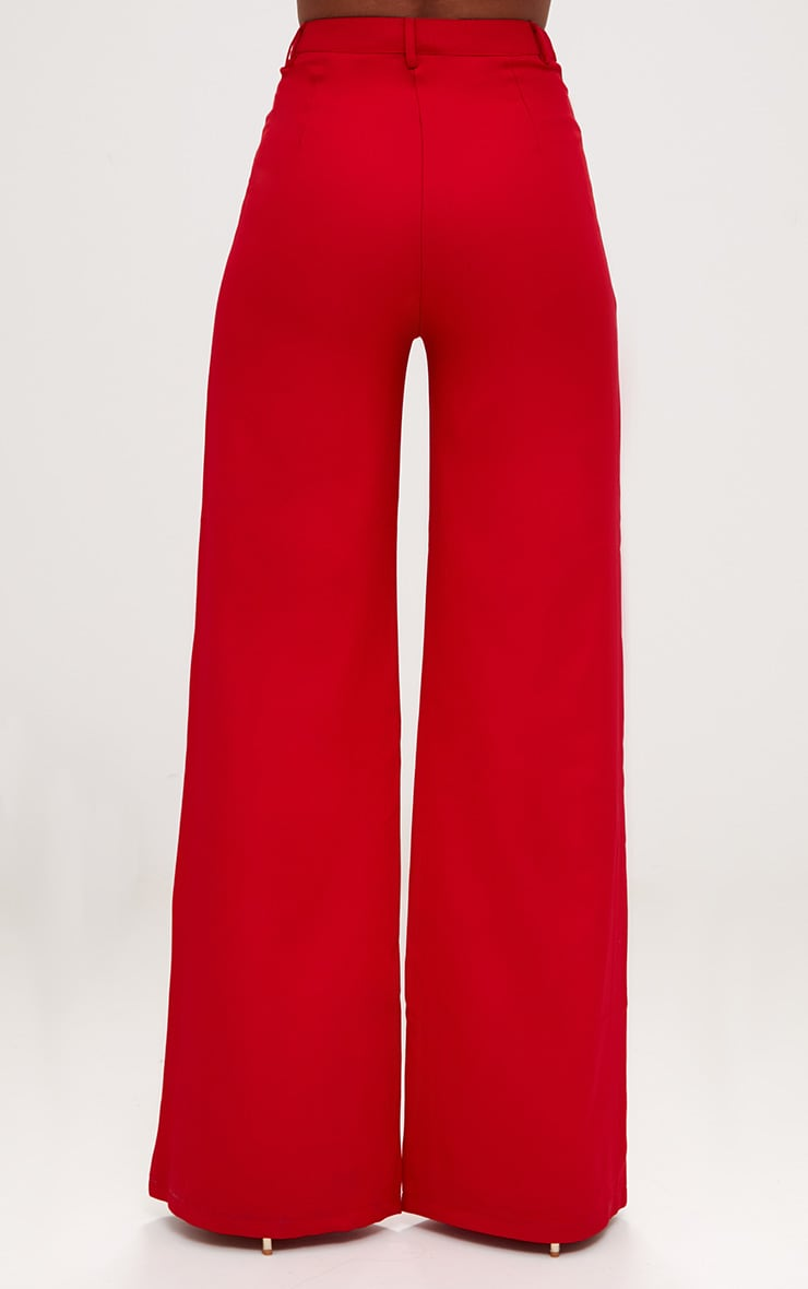 Red Wide Leg Crepe Pants 4
