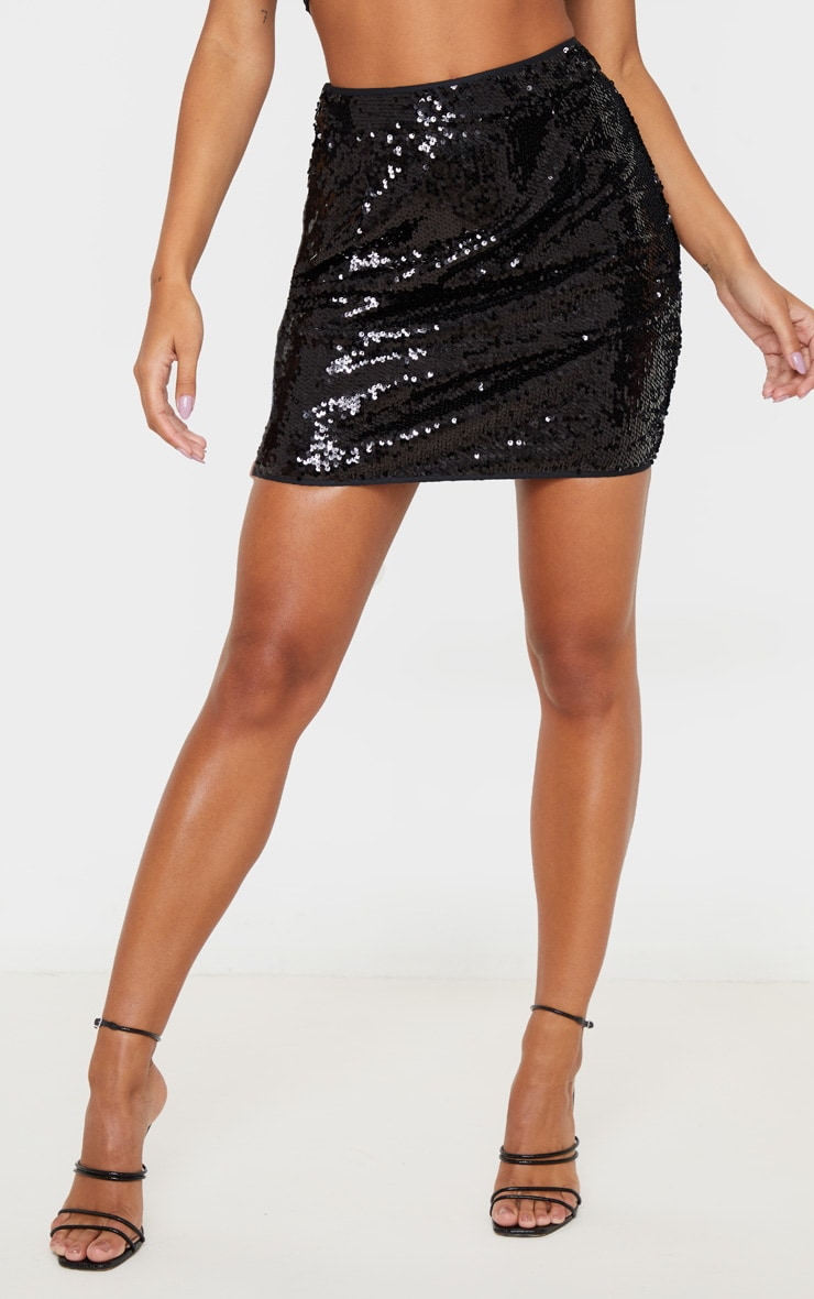Black Sequin Detailed Mini Skirt 2