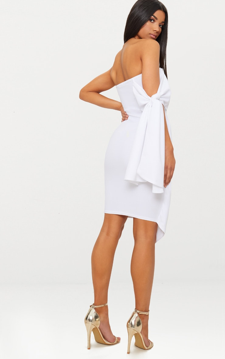 White Tie Detail Wrap Front Bandeau Midi Dress 2
