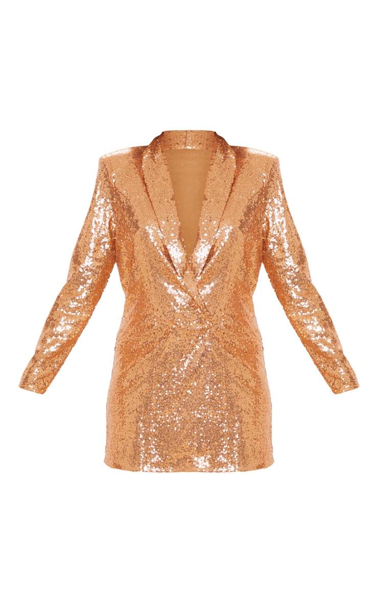 Bronze Sequin Oversized Blazer Dress 3