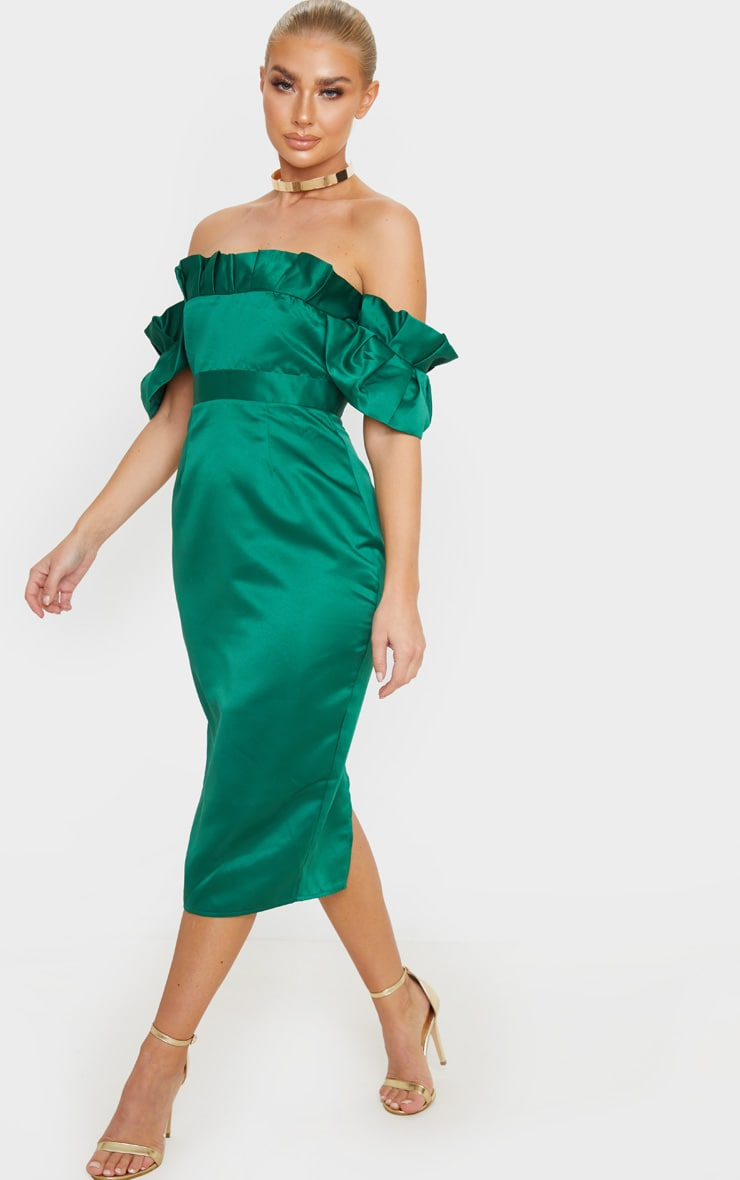 Emerald Green Bonded Satin Bardot Pleated Detail Midi Dress 4