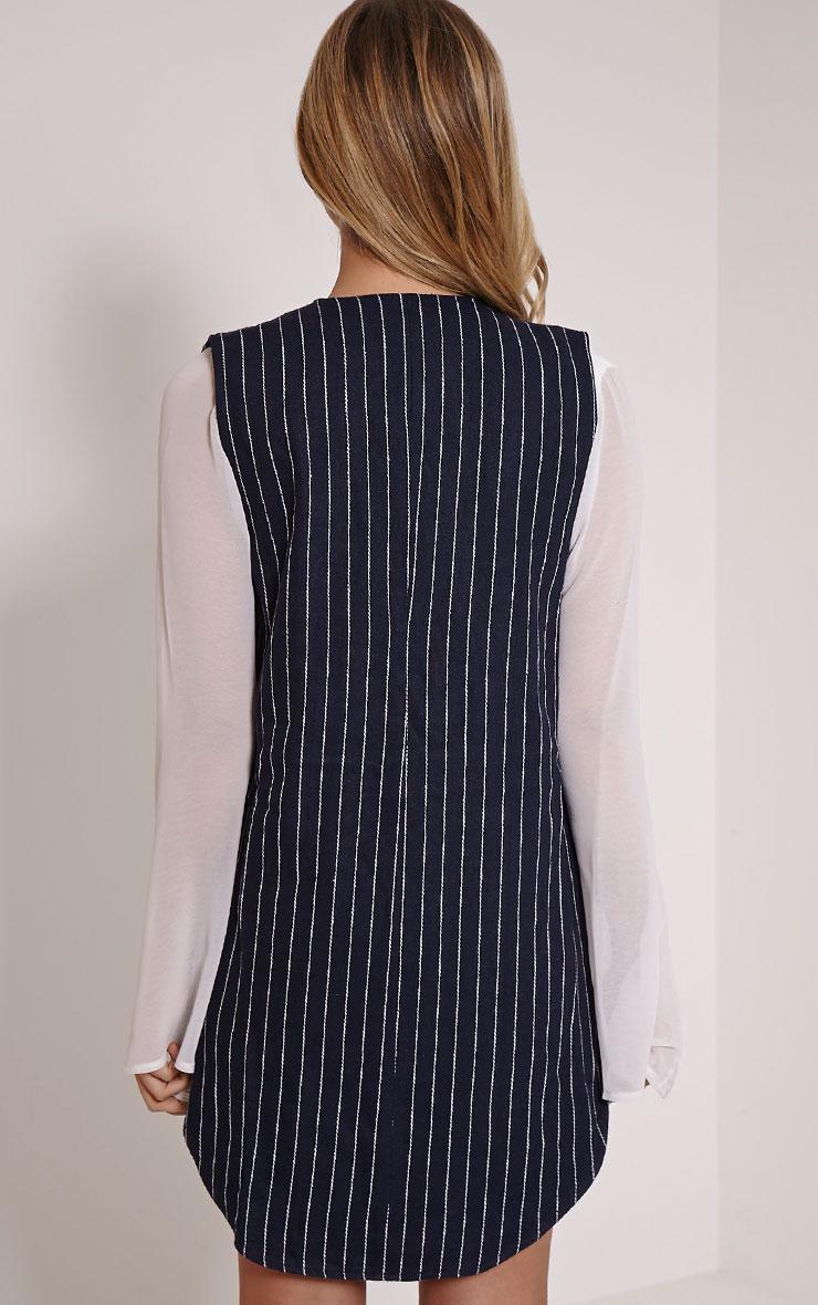 Eva Navy Pinstripe Sleeveless Blazer 2
