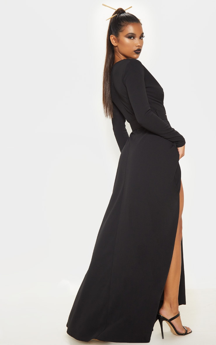 Black Long Sleeve Plunge Belted Maxi Dress 2