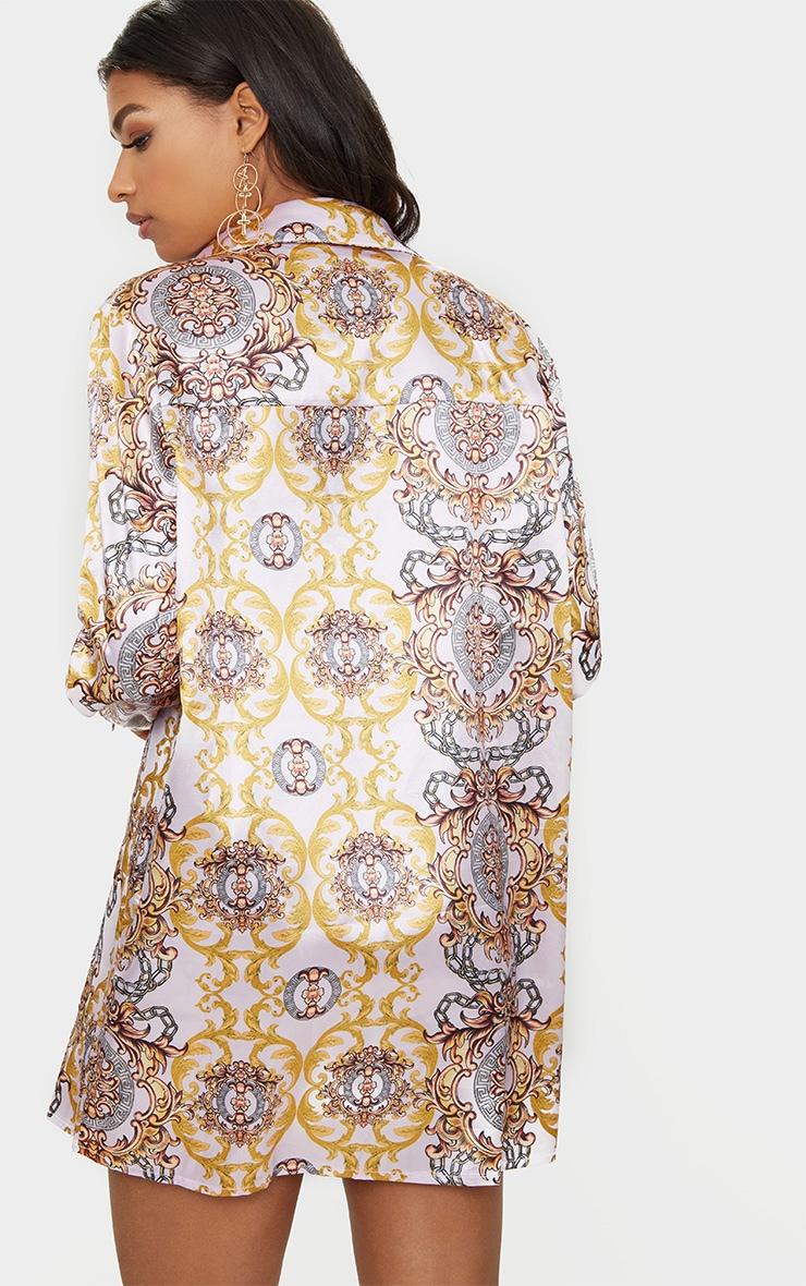Pink  Chain Print Shirt Dress 2