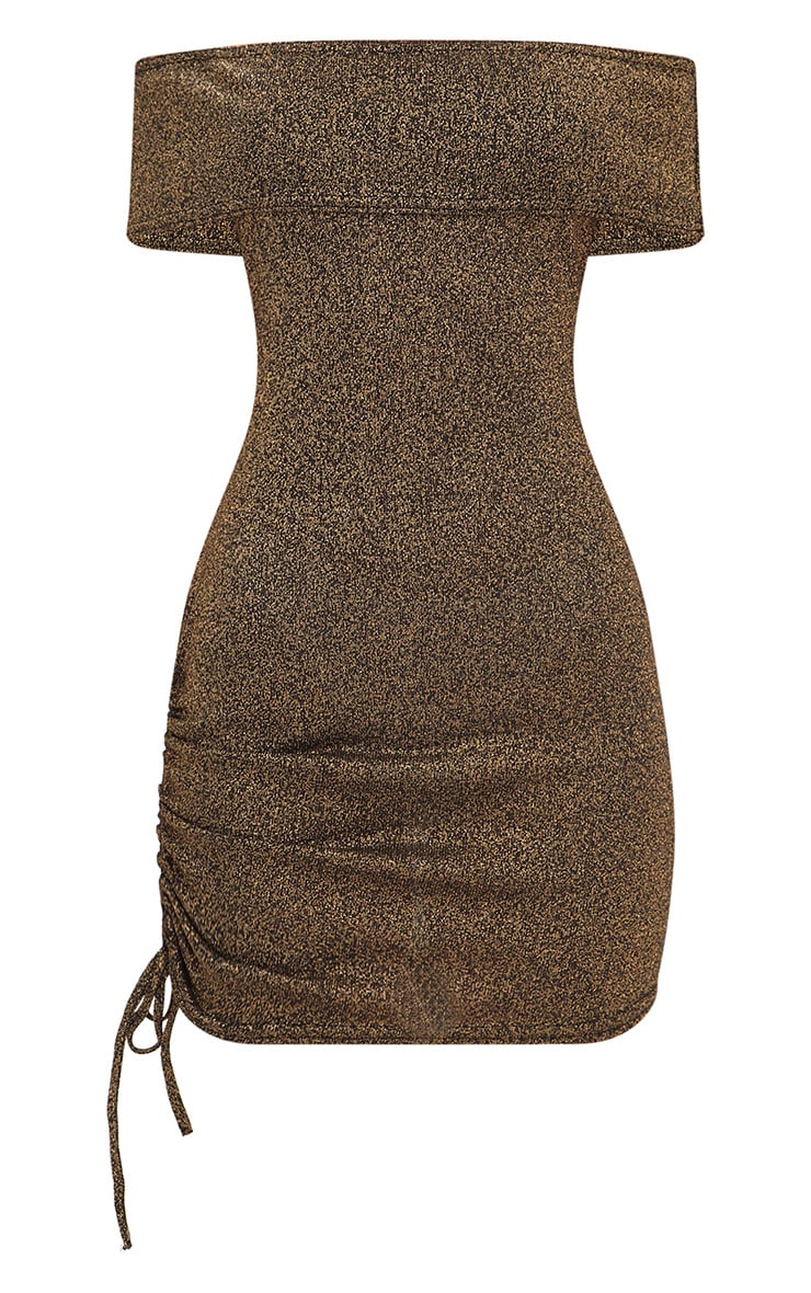 Gold Glitter Ruched Side Bardot Bodycon Dress 3