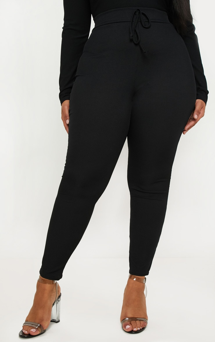 Plus Black Ribbed High Waist Leggings 2