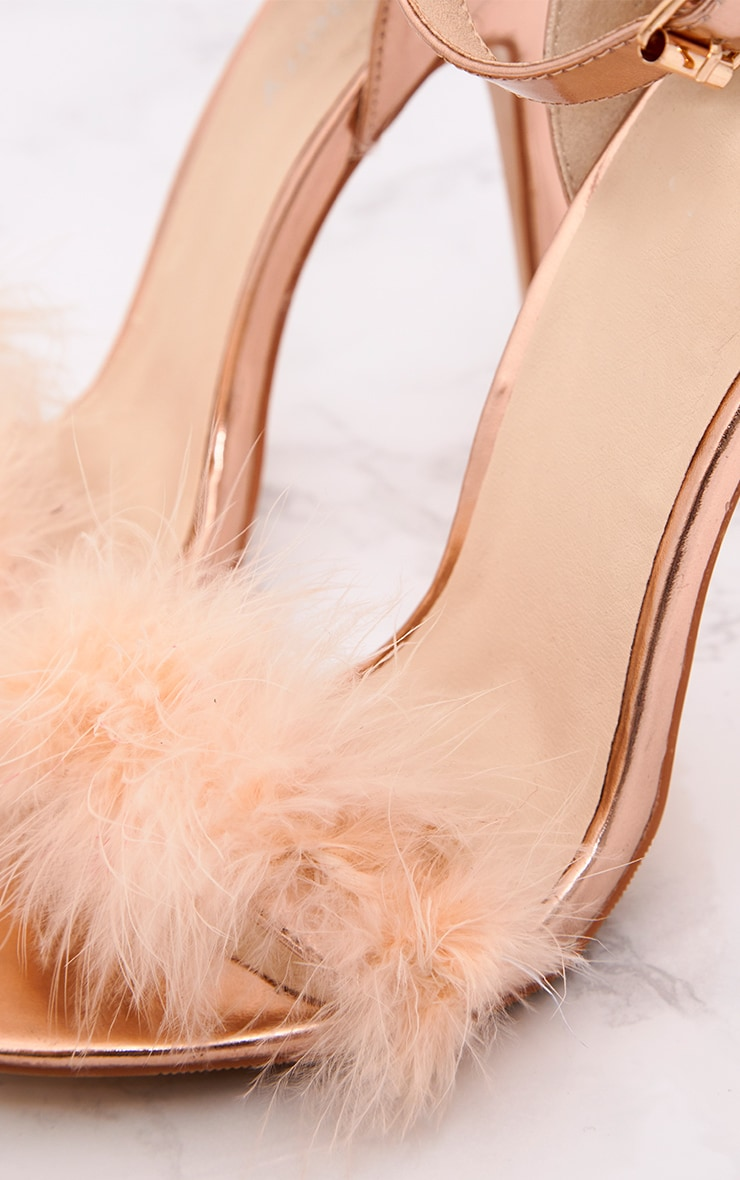 Soraya Nude Feather Strap Heels 6