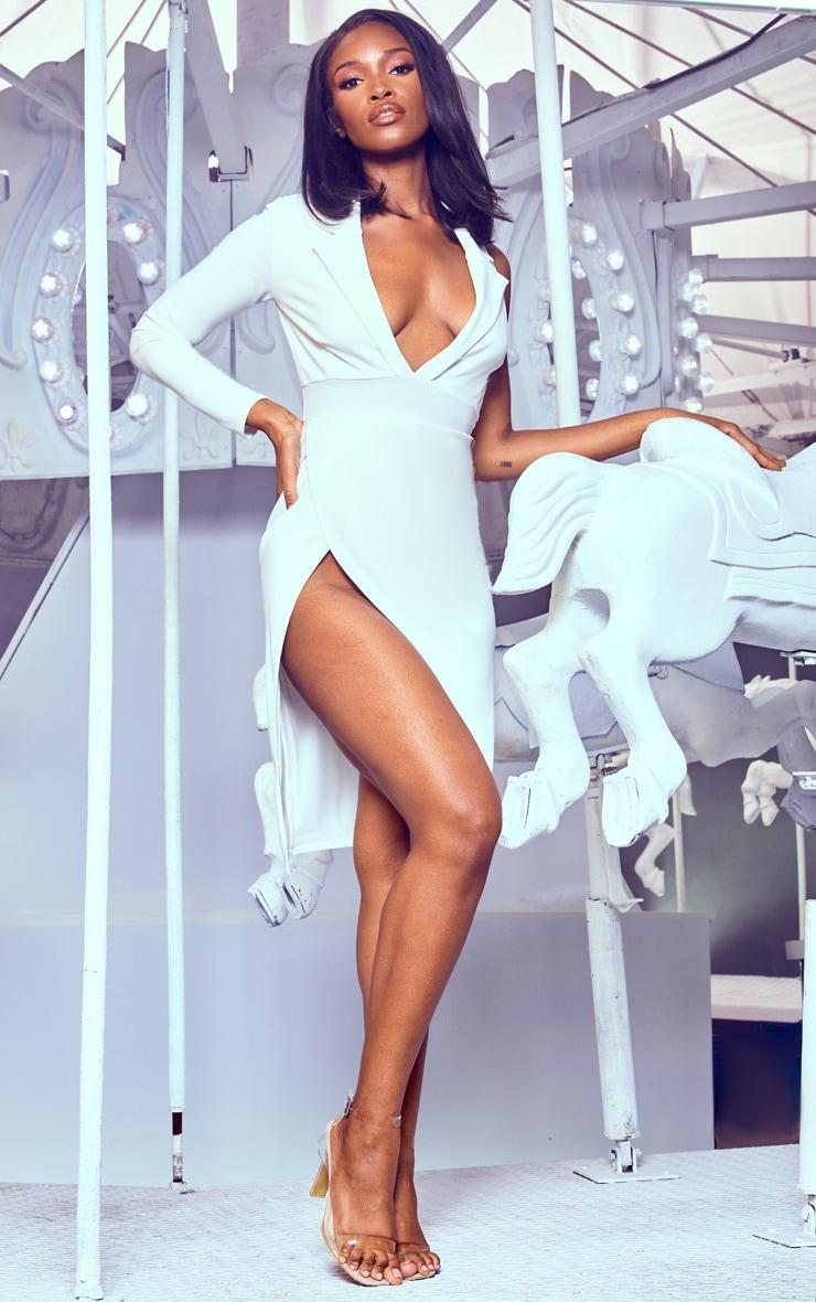 White Extreme Split Midi Blazer Dress