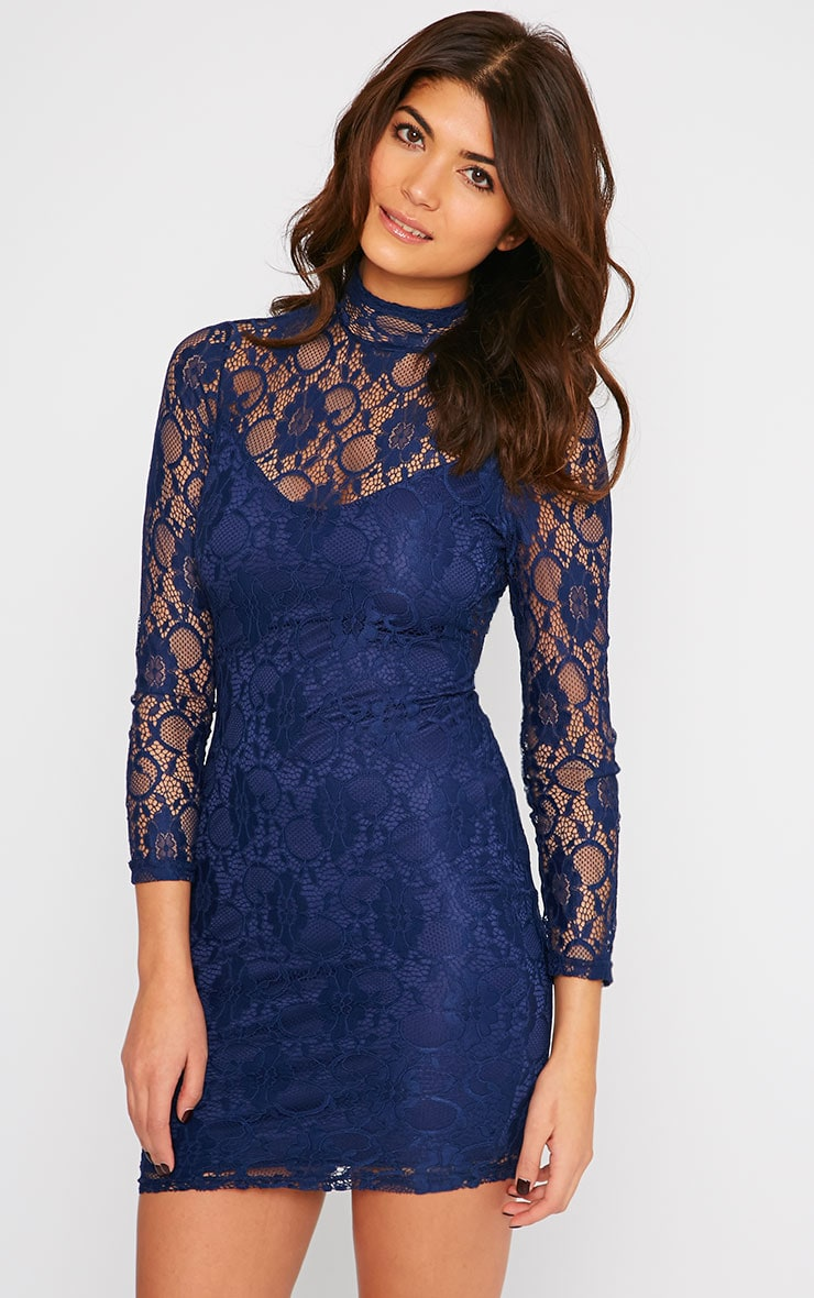 Esty Navy Lace High Neck Mini Dress  1