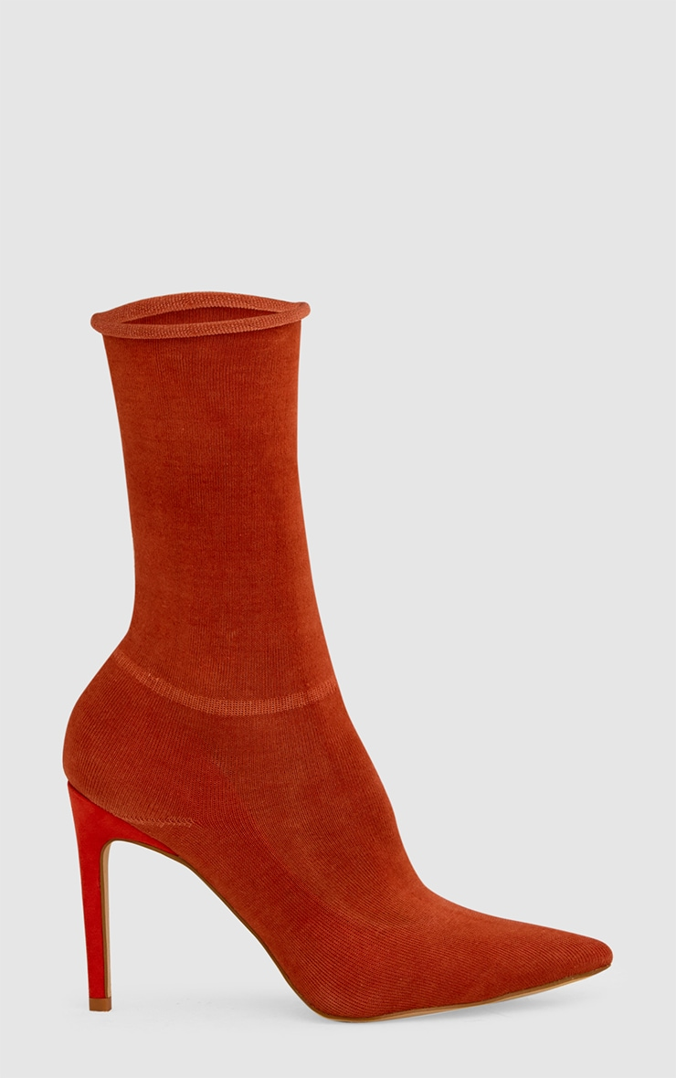 Orange Knitted Sock Boots 3