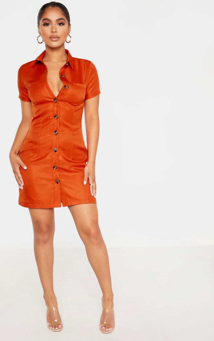 Petite Rust Button Utility Shirt Dress  4
