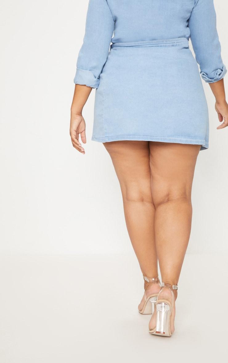 Plus Light Wash Wrap Over Denim Skirt 4