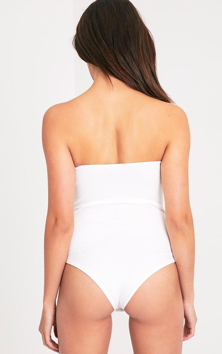 Cassandra Cream Bandeau V Front Thong Bodysuit 7