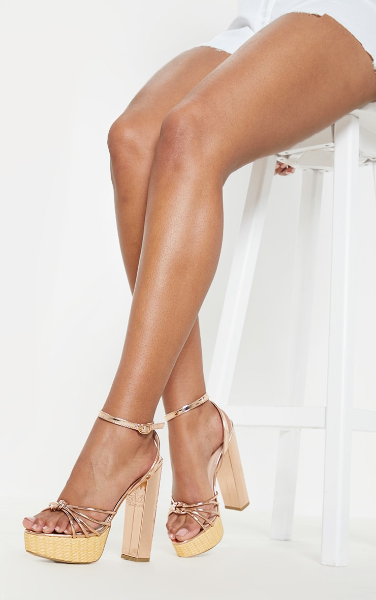 Gold Raffia Platform Sandal 1
