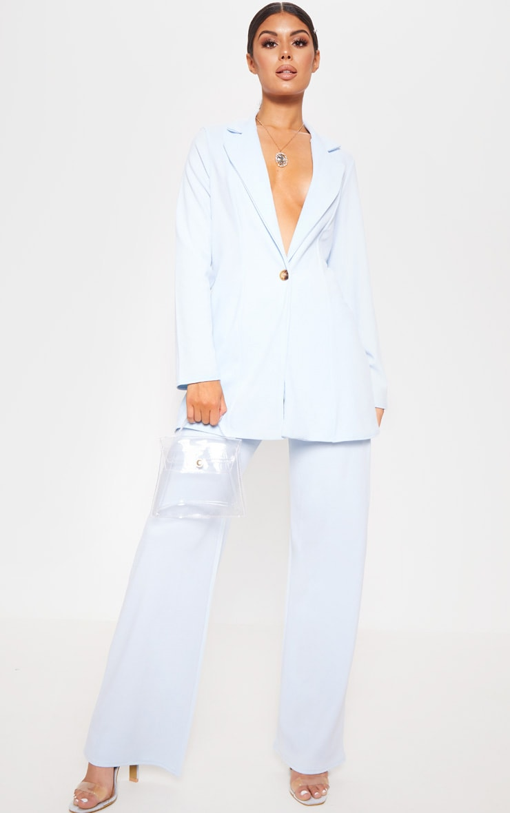 Baby Blue Wide Leg Suit Trouser
