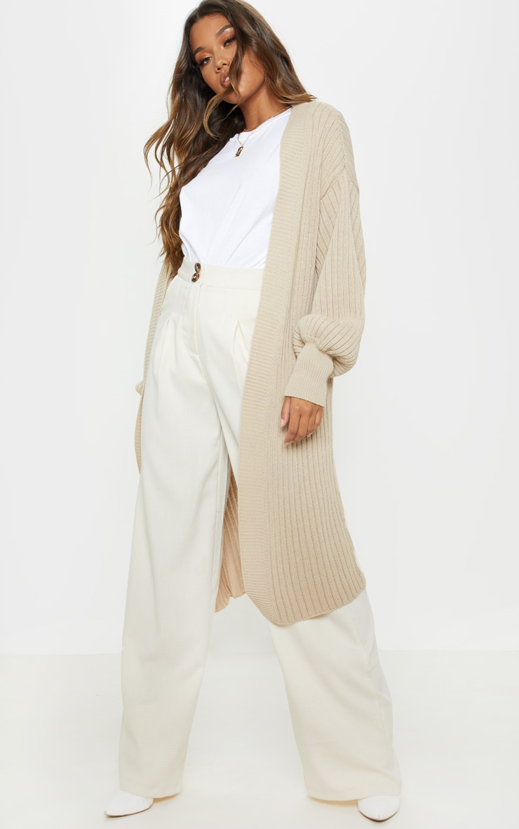 Stone Ribbed Knitted Midi Cardigan 4