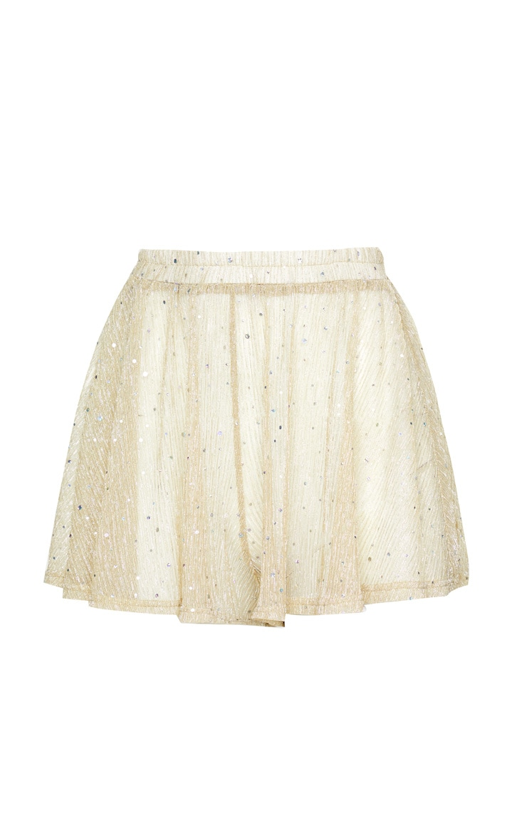 Gold Metallic Plisse Sequin Beach Short 3