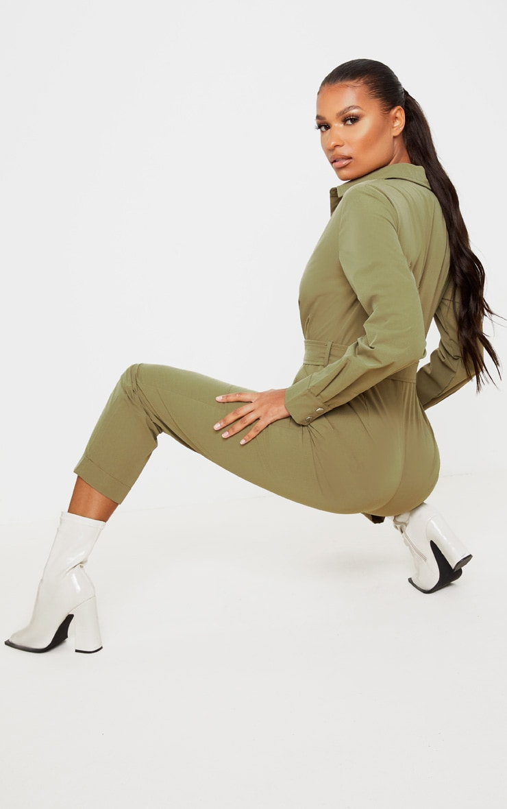 Khaki Tailored Long Sleeve Jumpsuit 2