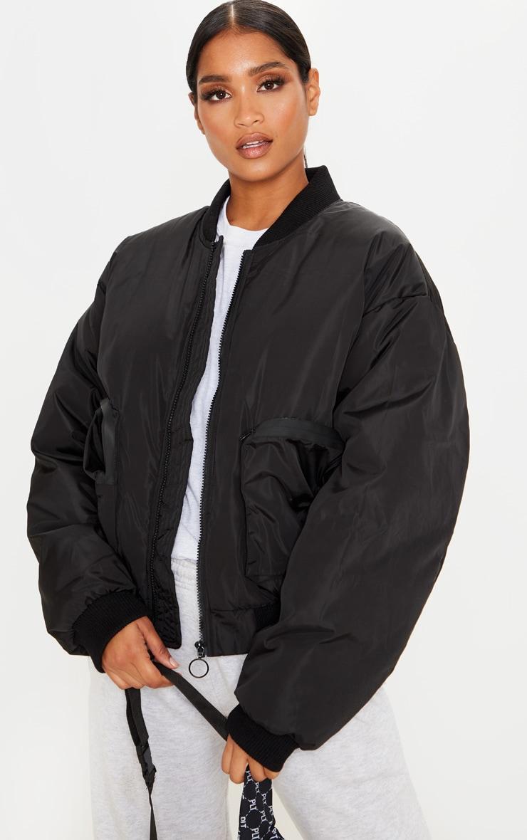 Black Pocket Zip Up Bomber Jacket 1