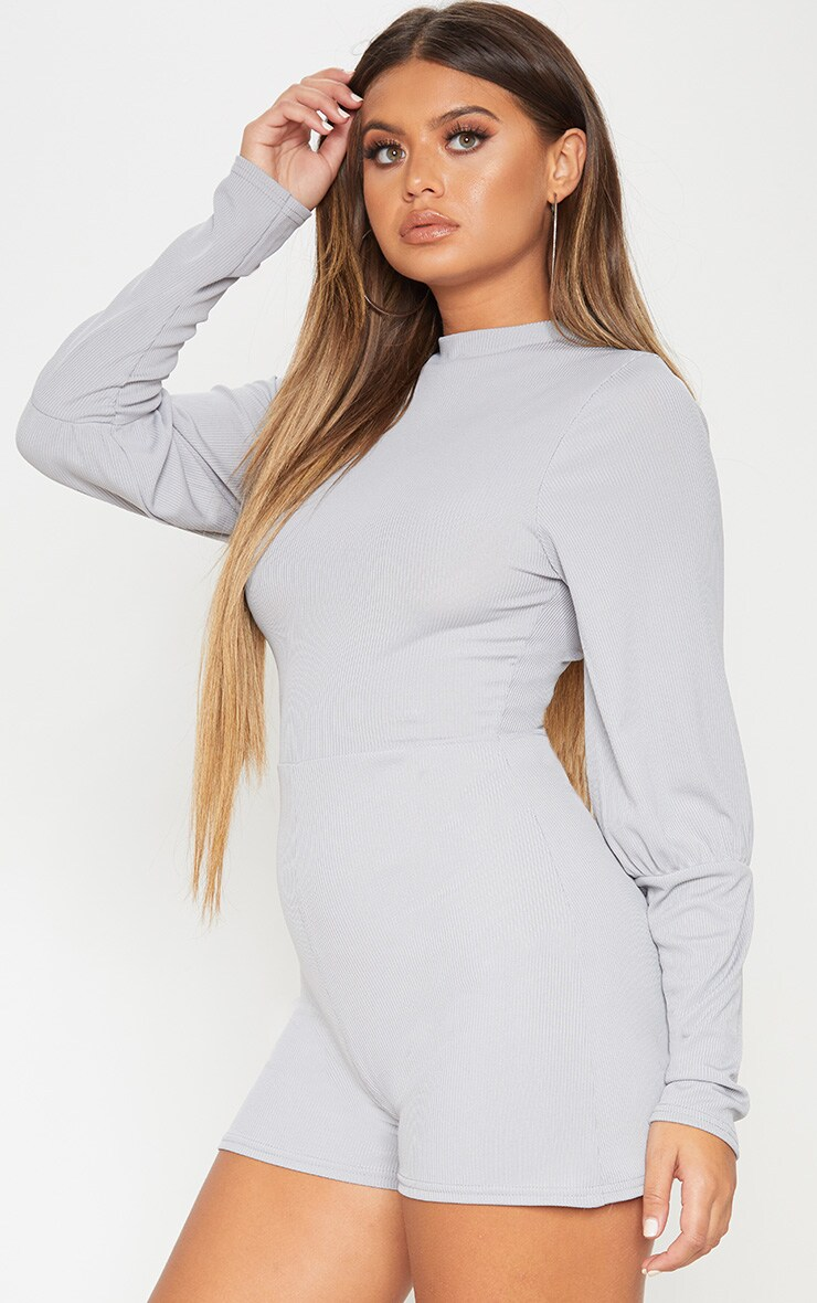 Ice Grey Ribbed Balloon Sleeve Playsuit