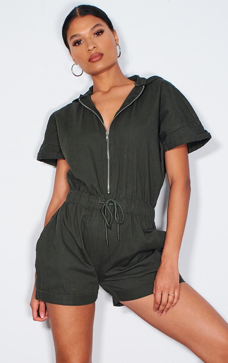 Khaki Hooded Zip Up Denim Playsuit 1