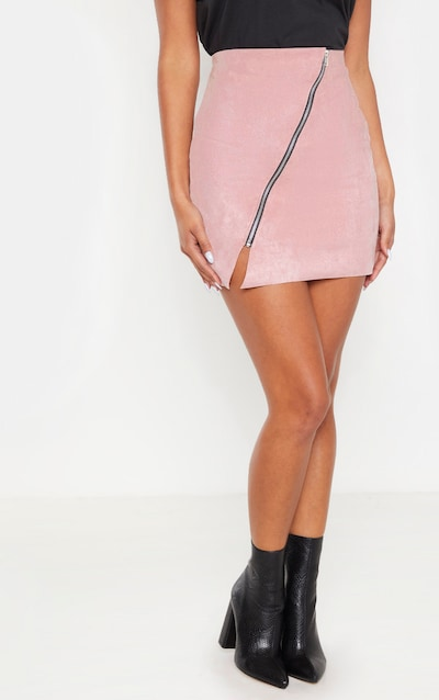Pink Faux Suede Zip Detail A Line Skirt