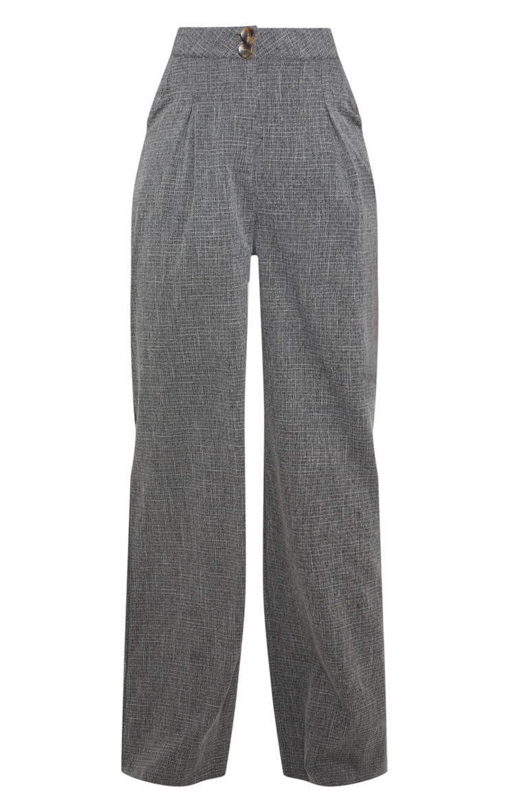 Charcoal Grey Tortoise Shell Double Button Wide Leg Pants 3