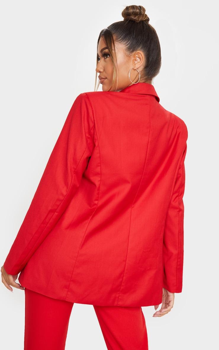 Red Longline Oversized Woven Blazer 2