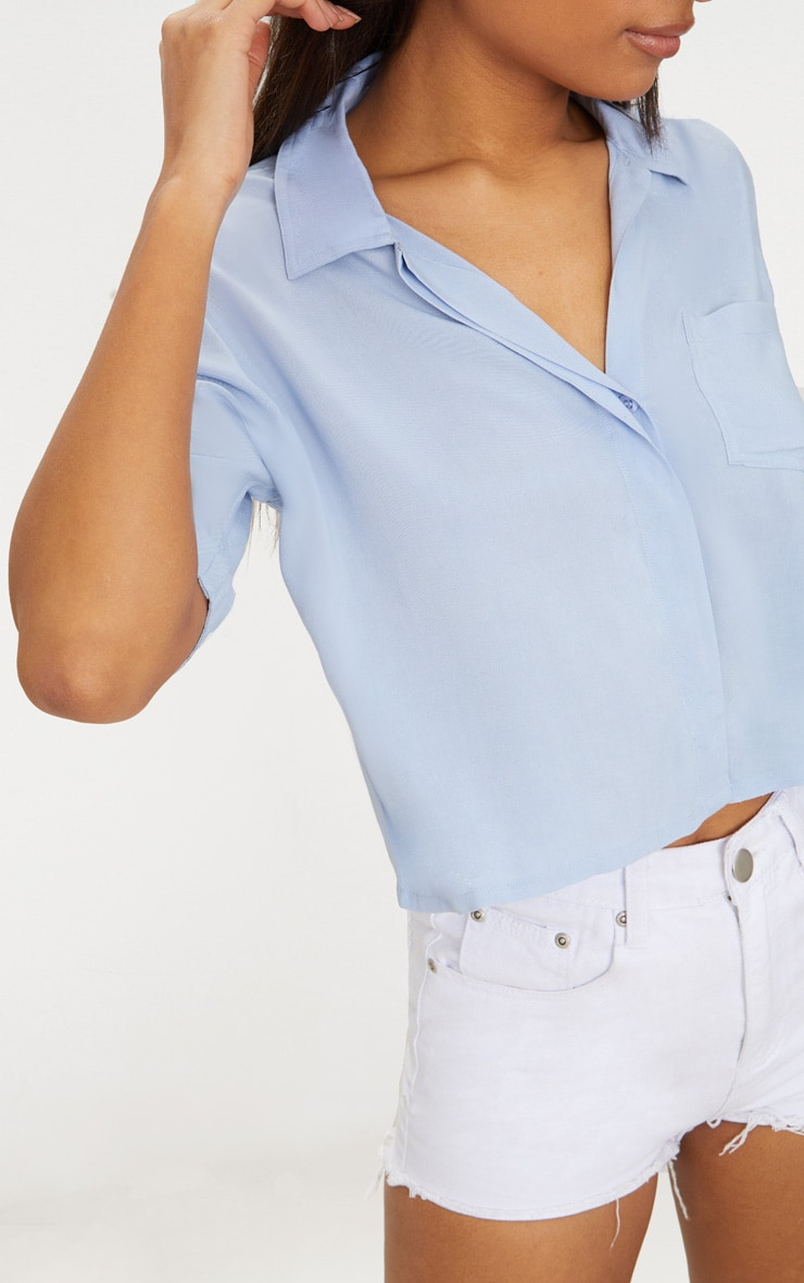 Blue Crop Oversized Shirt 5