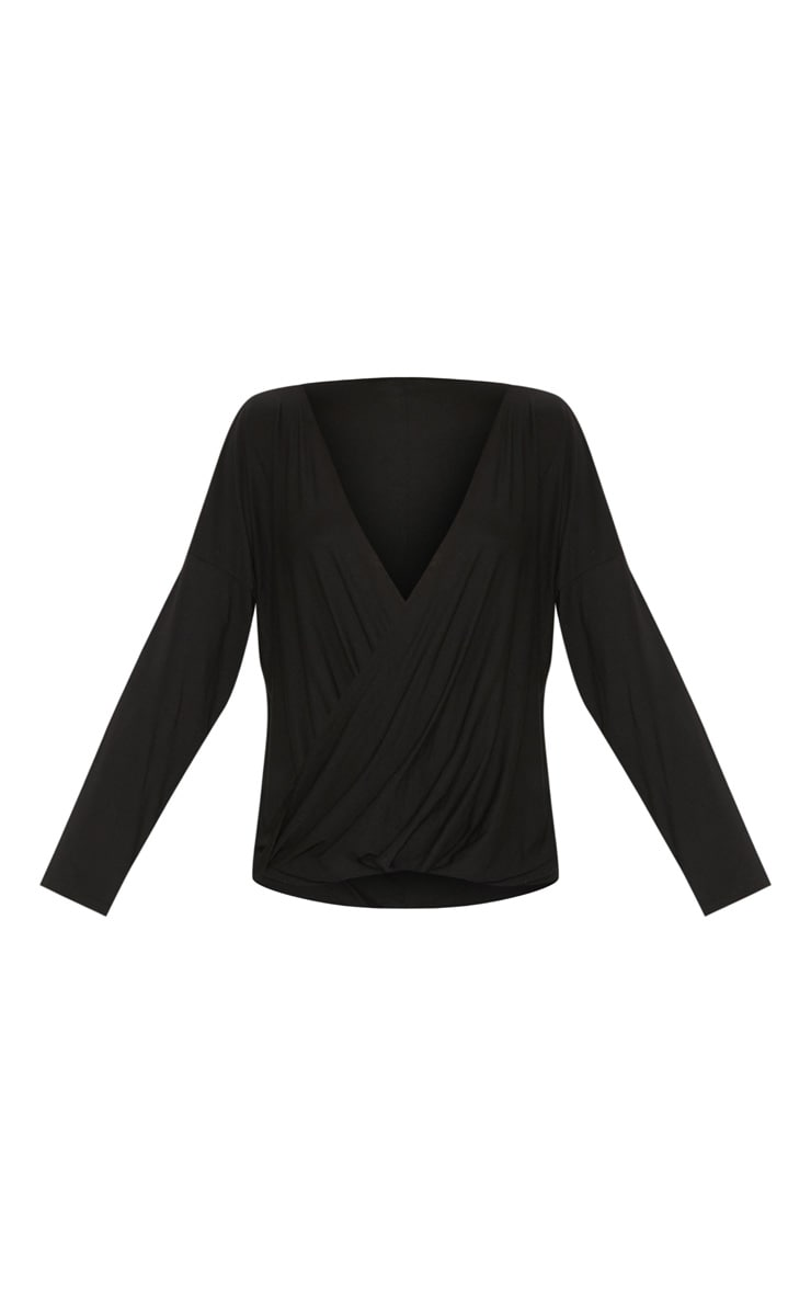 Black Jersey Drape Wrap Top 3