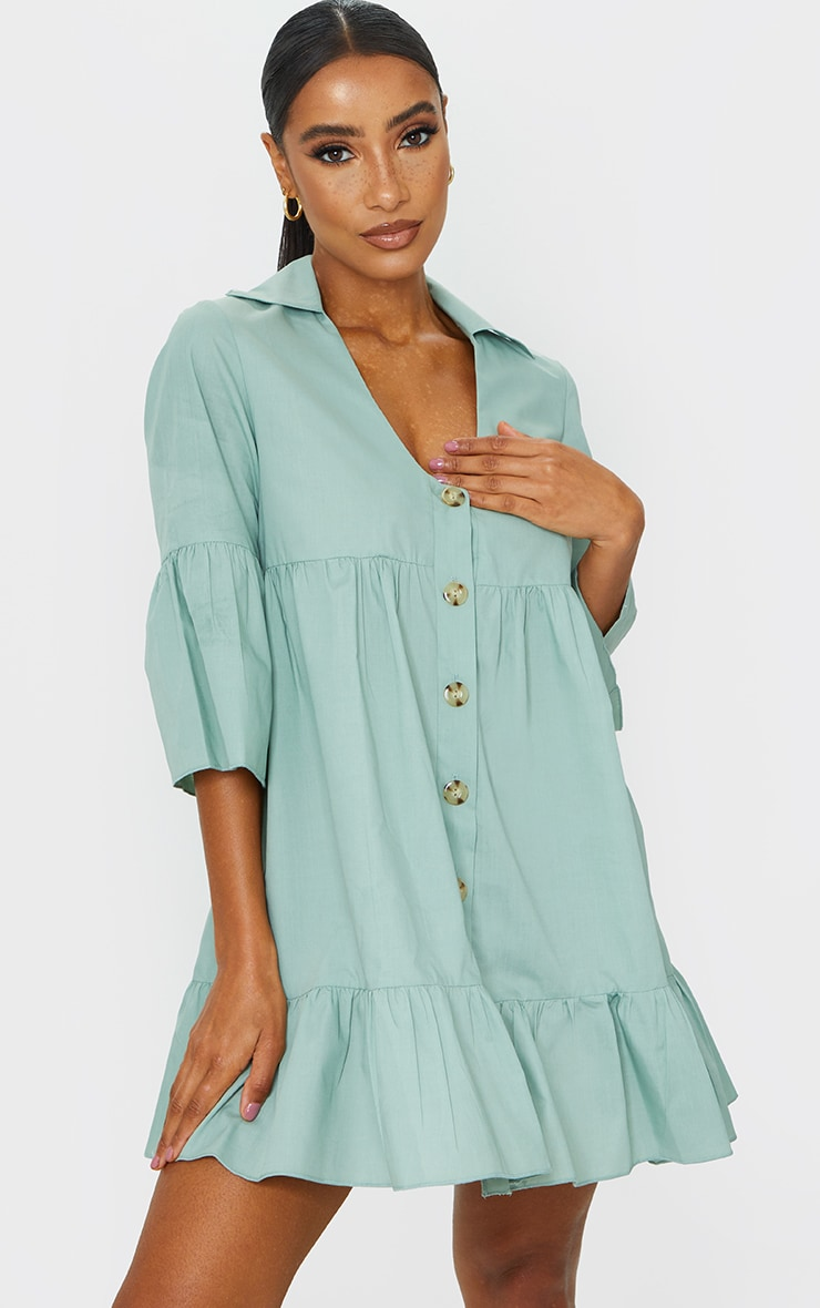 Sage Green Button Front Tiered Smock Dress 1