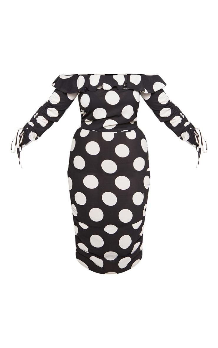 Plus Black Polka Dot Ruched Side Bardot Dress 3