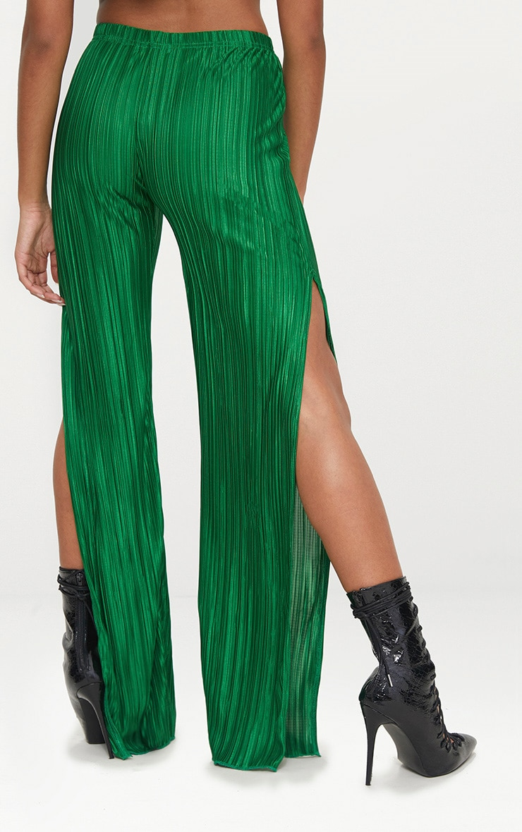 Petite Bright Green Pleated Split Wide Leg Trousers 4