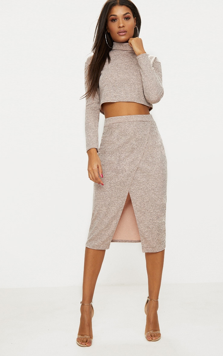 Nude Roll Neck Co Ord Skirt Set 5