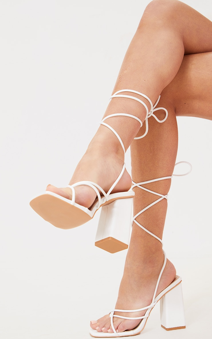 White PU Toe Loop Lace Up Chunky Block Heeled Sandals 2