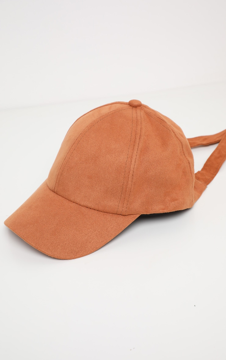 Brown Suedette Baseball Cap 2
