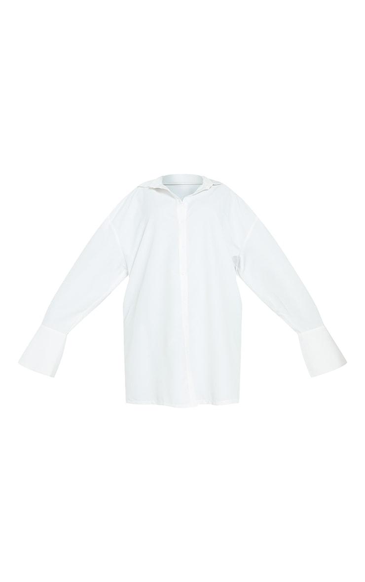 Plus White Plain Oversized Shirt Dress 6