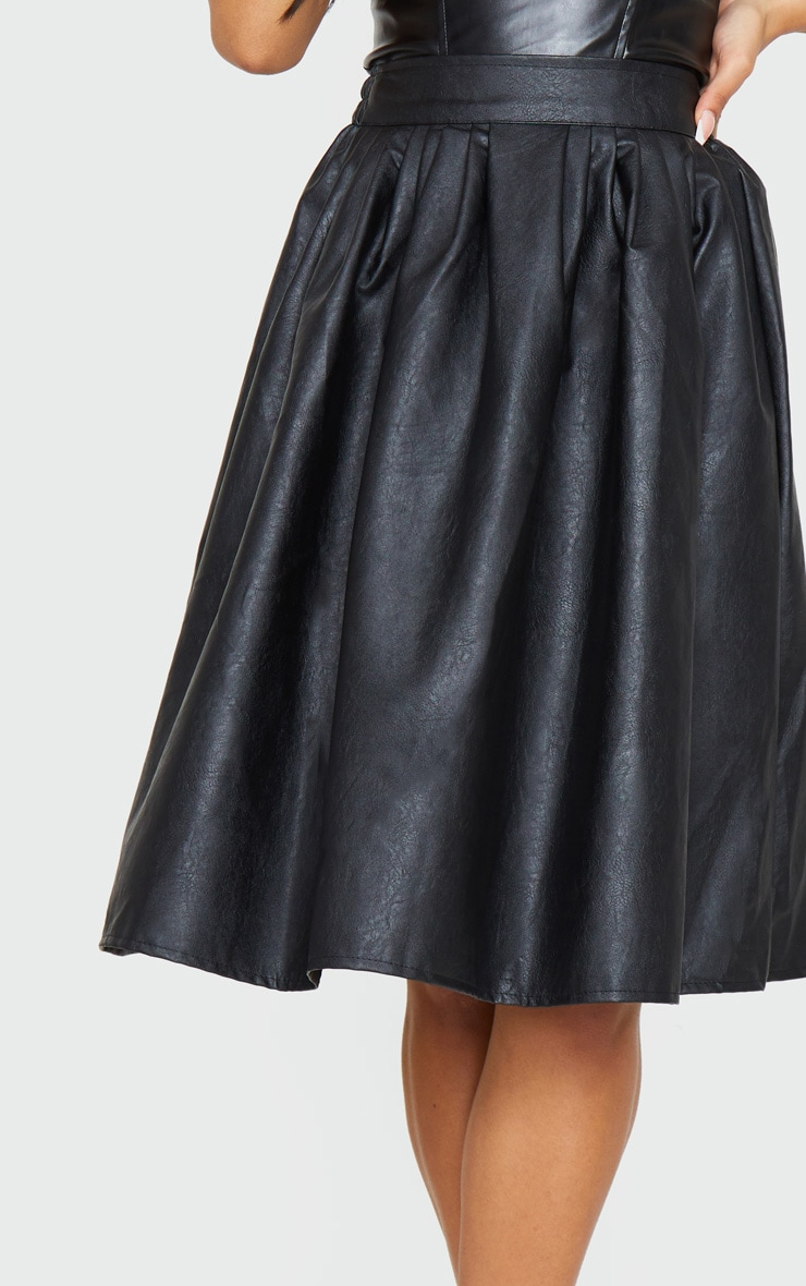 Black Faux Leather Pleated Midi Skirt 4