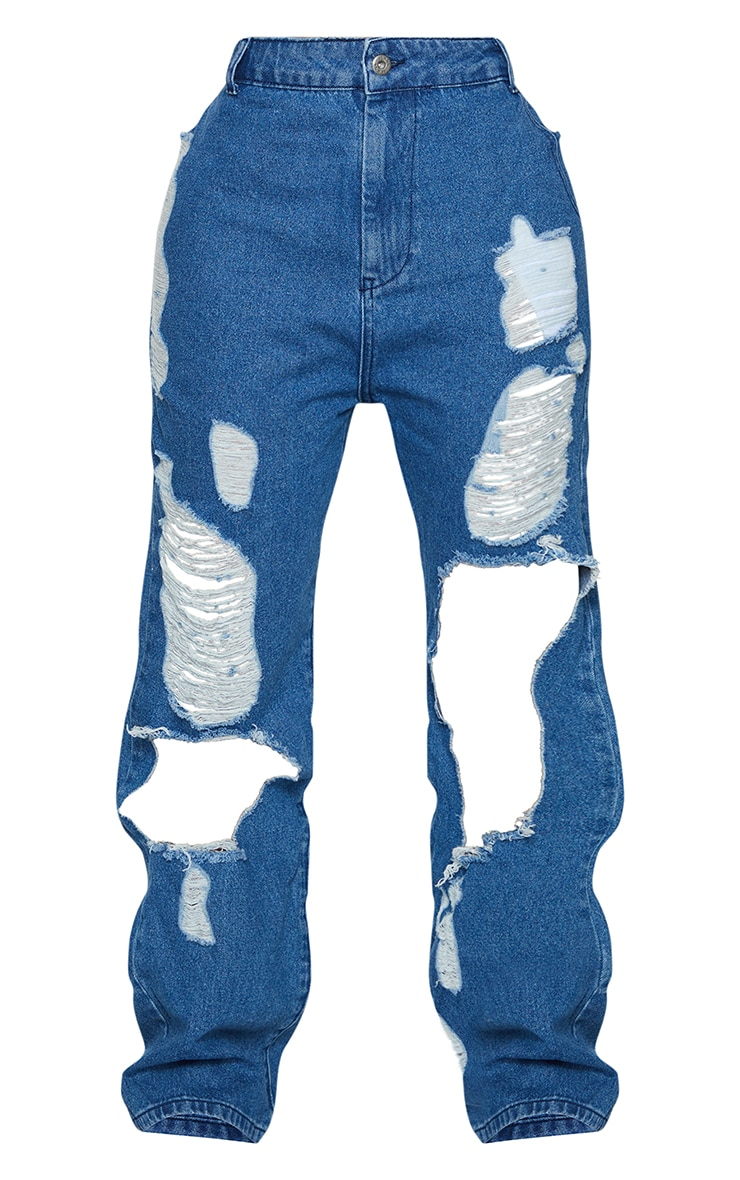 Shape Mid Blue Wash Extreme Distressed Split Hem Jeans 5